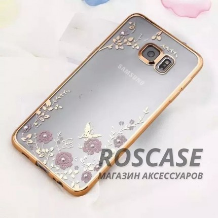 Прозрачный чехол с цветами и стразами для Samsung G925F Galaxy S6 Edge с глянцевым бампером (Золотой/Розовые цветы)Описание:совместим с Samsung G925F Galaxy S6 Edge;материал - термополиуретан;тип - накладка.&amp;nbsp;Особенности:прозрачный;изящный рисунок;украшен стразами;защищает от царапин и ударов;не скользит в руках.<br><br>Тип: Чехол<br>Бренд: Epik<br>Материал: TPU