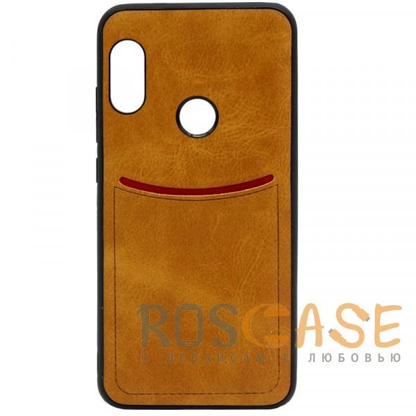 Фото Светло-коричневый ILEVEL | Чехол с кожаным покрытием и с карманом-визитницей для Xiaomi Redmi Note 6 Pro