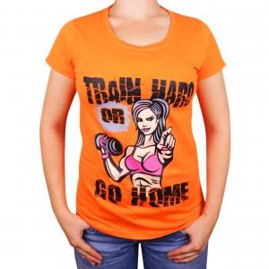 "Muscle Rabbit | Женская футболка с принтом ""Train hard"""
