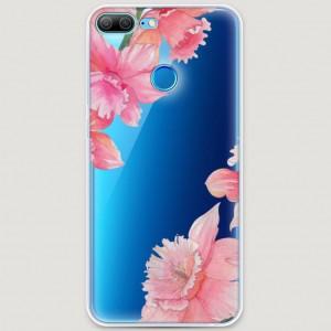 RosCase | Силиконовый чехол Розовые цветочные уголки на Huawei Honor 9 Lite