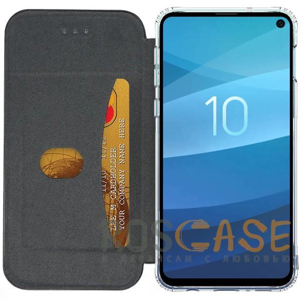 Фотография Черный Open Color 2   Чехол-книжка на магните для Samsung Galaxy S10e с подставкой и внутренним карманом