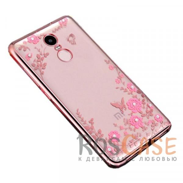 Прозрачный чехол с цветами и стразами для Xiaomi Redmi Note 4 с глянцевым бампером (Розовый золотой/Розовые цветы)Описание:совместим с Xiaomi Redmi Note 4;материал - термополиуретан;тип - накладка.<br><br>Тип: Чехол<br>Бренд: Epik<br>Материал: TPU