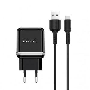 СЗУ Borofone BA25A (2USB / 2.4A) + кабель type-C 1м для Apple iPhone 7 Plus