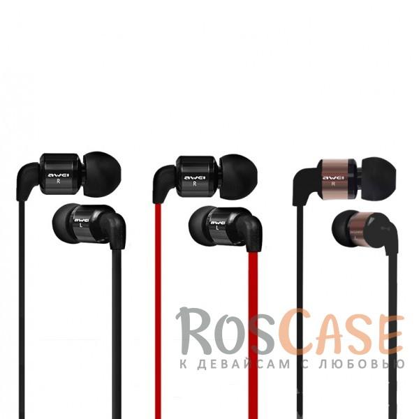 Фото Модные вакуумные наушники AWEI ES600i с плоским кабелем и микрофоном
