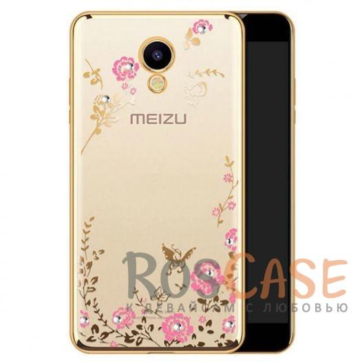 Фото Золотой/Розовые цветы Прозрачный чехол со стразами для Meizu M5 с глянцевым бампером