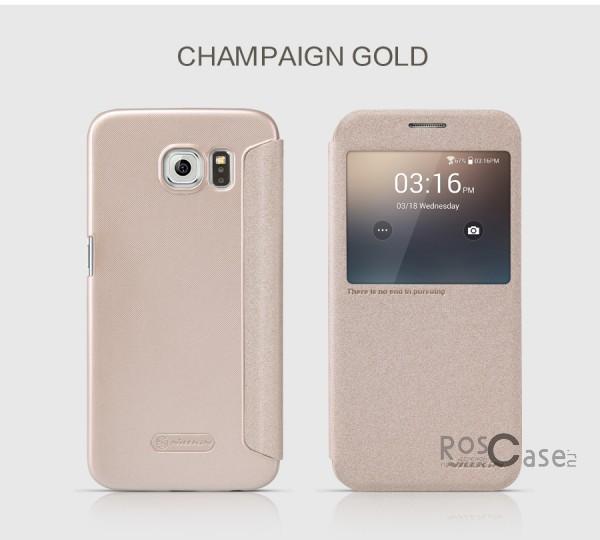 Кожаный чехол (книжка) Nillkin Sparkle Series для Samsung Galaxy S6 G920F/G920D Duos (Золотой)Описание:бренд -&amp;nbsp;Nillkin;совместим с Samsung Galaxy S6 G920F/G920D Duos;материал: кожзам;тип: чехол-книжка.Особенности:защита от механических повреждений;не скользит в руках;интерактивное окошко;функция Sleep mode;не выгорает;тонкий дизайн.<br><br>Тип: Чехол<br>Бренд: Nillkin<br>Материал: Натуральная кожа
