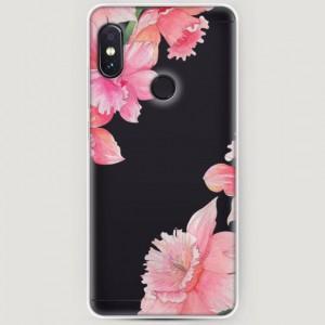 RosCase | Силиконовый чехол Розовые цветочные уголки на Xiaomi Redmi Note 5 Pro