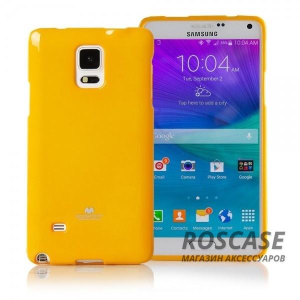 TPU чехол Mercury Jelly Color series для Samsung N910H Galaxy Note 4 (Желтый)Описание:бренд  -  Mercury;совместимость  -  телефоны Samsung N910H Galaxy Note 4;материал  -  термопластичный полиуретан (ТПУ);форма чехла  -  накладка.Особенности:износостойкость, прочность;поверхность  -  глянцевая, нескользящая;в наличии все функциональные вырезы;ультратонкий.<br><br>Тип: Чехол<br>Бренд: Mercury<br>Материал: TPU