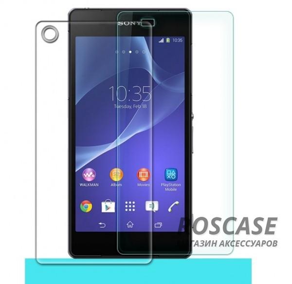 Защитное стекло Nillkin Anti-Explosion Glass (H) для Sony Xperia Z2 (L50)(+ пленка на заднюю панель)Описание:бренд-производитель:&amp;nbsp;Nillkin;совместимость: Sony Xperia Z2 (L50);материал: закаленное стекло;тип: стекло.&amp;nbsp;Особенности:имеются все функциональные вырезы;в комплекте пленка на заднюю панель;антибликовое покрытие;твердость 9H;не влияет на чувствительность сенсора;легко очищается;толщина - &amp;nbsp;0,3 мм;анти-отпечатки.<br><br>Тип: Защитное стекло<br>Бренд: Nillkin