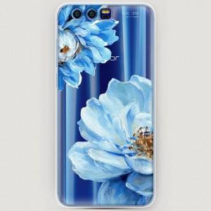 RosCase | Силиконовый чехол Голубые клематисы на Huawei Honor 9