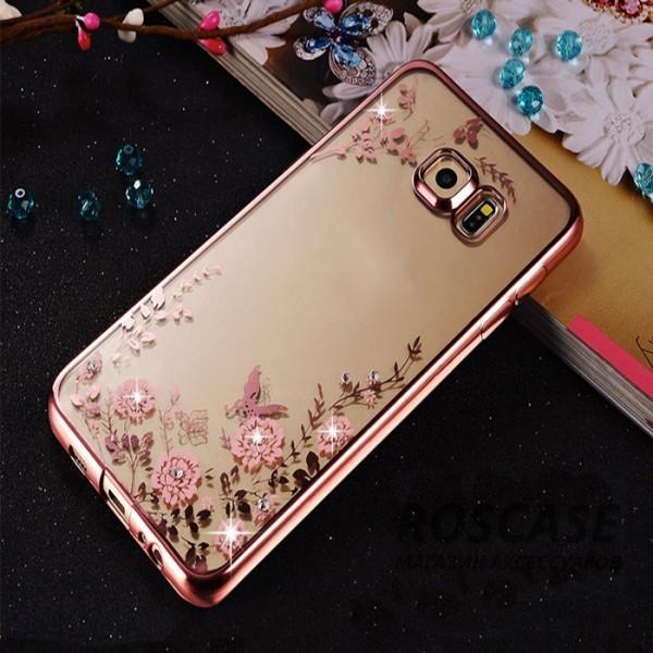 Прозрачный чехол с цветами и стразами для Samsung G925F Galaxy S6 Edge с глянцевым бампером (Розовый золотой/Розовые цветы)Описание:совместим с Samsung G925F Galaxy S6 Edge;материал - термополиуретан;тип - накладка.&amp;nbsp;Особенности:прозрачный;изящный рисунок;украшен стразами;защищает от царапин и ударов;не скользит в руках.<br><br>Тип: Чехол<br>Бренд: Epik<br>Материал: TPU