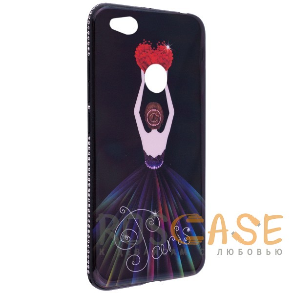Изображение Черный / Сердце Magic Girl | Глянцевый чехол с элегантным принтом и стразами для Xiaomi Redmi 4X