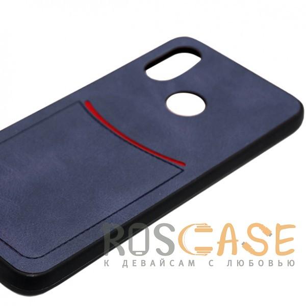 Фото Синий ILEVEL | Чехол с кожаным покрытием и с карманом-визитницей для Huawei Nova 3