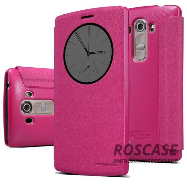 Кожаный чехол (книжка) Nillkin Sparkle Series для LG H734/H736 G4s Dual (Розовый)Описание:бренд -&amp;nbsp;Nillkin;совместим с LG H734/H736 G4s Dual;материал - кожзам;тип: книжка.&amp;nbsp;Особенности:функция Sleep mode;окошко в обложке;блестящая поверхность;защита со всех сторон.<br><br>Тип: Чехол<br>Бренд: Nillkin<br>Материал: Искусственная кожа