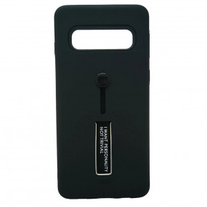 Противоударный двухслойный чехол Personality для Samsung Galaxy S10 Plus с подставкой и держателем
