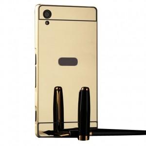 Металлический бампер для Sony Xperia XA / XA Dual с зеркальной вставкой