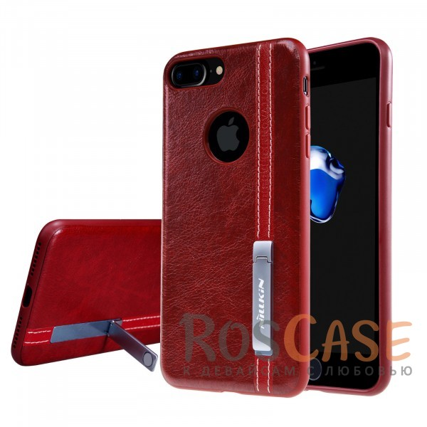 Классическая кожаная накладка Nillkin Phenom с металлической подставкой для Apple iPhone 7 plus / 8 plus (5.5) (Красный)Описание:бренд&amp;nbsp;Nillkin;разработан для Apple iPhone 7 plus / 8 plus (5.5);материалы: искусственная кожа, TPU;формат: накладка;функция подставки;защита от ударов и царапин;не скользит в руках;металлическая пластина внутри.<br><br>Тип: Чехол<br>Бренд: Nillkin<br>Материал: Искусственная кожа