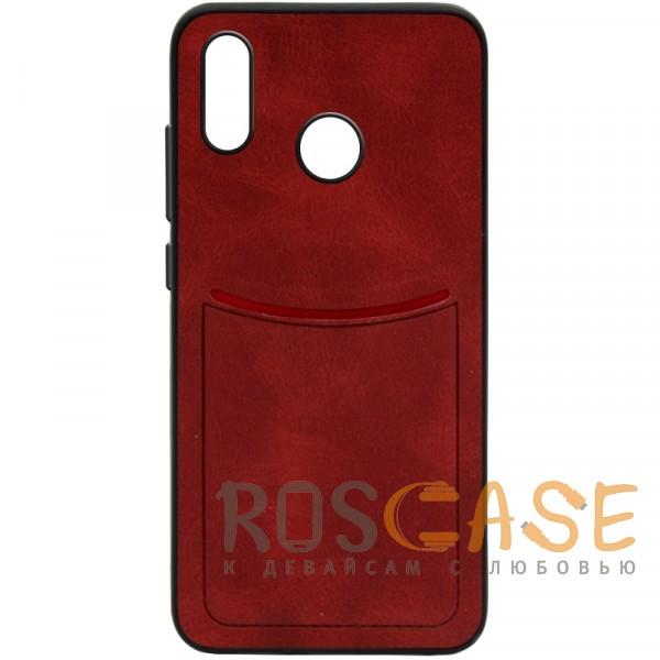 Фото Красный ILEVEL | Чехол с кожаным покрытием и с карманом-визитницей для Huawei P Smart+ (nova 3i)
