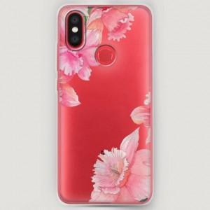 RosCase | Силиконовый чехол Розовые цветочные уголки на Xiaomi Mi A2
