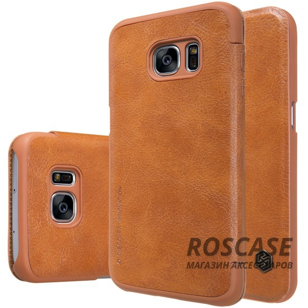 Кожаный чехол (книжка) Nillkin Qin Series для Samsung G930F Galaxy S7 (Коричневый)Описание:производитель:&amp;nbsp;Nillkin;совместим с Samsung G930F Galaxy S7;материал: натуральная кожа;тип: чехол-книжка.&amp;nbsp;Особенности:ультратонкий;фактурная поверхность;не скользит в руках;стильный дизайн;внутренняя отделка микрофиброй.<br><br>Тип: Чехол<br>Бренд: Nillkin<br>Материал: Натуральная кожа