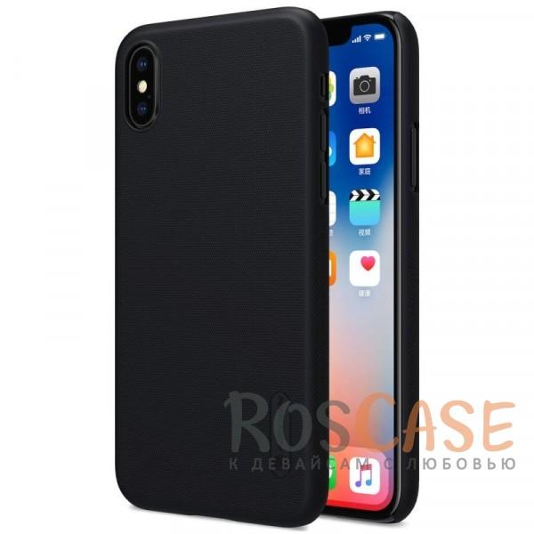 Матовый чехол для Apple iPhone X (5.8) (+ пленка) (Черный)Описание:бренд&amp;nbsp;Nillkin;совместимость: Apple iPhone X (5.8);материал: поликарбонат;тип: накладка;закрывает заднюю панель и боковые грани;защищает от ударов и царапин;рельефная фактура;не скользит в руках;ультратонкий дизайн;защитная плёнка на экран в комплекте.<br><br>Тип: Чехол<br>Бренд: Nillkin<br>Материал: Поликарбонат