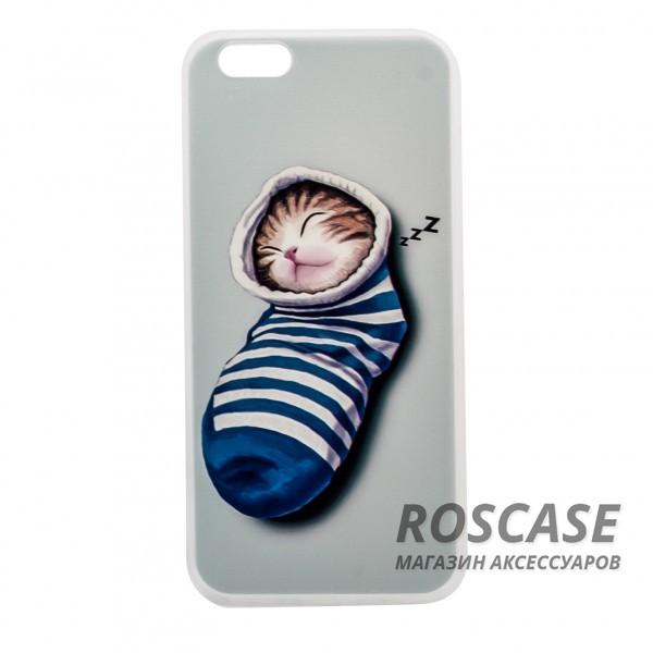 Тонкий силиконовый чехол с принтом Милые котята для Apple iPhone 6/6s (4.7) (Котенок в носке)Описание:совместимость  -  смартфон Apple iPhone 6/6s (4.7);материал  -  силикон;форм-фактор  -  накладка.Особенности:оригинальный дизайн;высокий уровень прочности и износостойкости;не теряет гибкость и эластичность;не деформируется;не скользит в руках.<br><br>Тип: Чехол<br>Бренд: Epik<br>Материал: TPU
