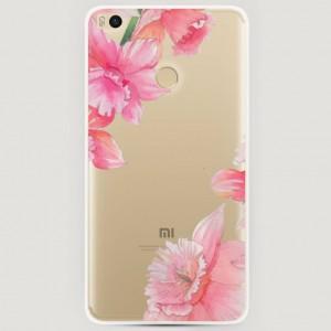 RosCase | Силиконовый чехол Розовые цветочные уголки на Xiaomi Mi Max 2