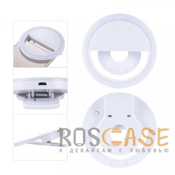 Фотография Белый Selfie Ring Light   Светодиодное кольцо для селфи с кнопкой переключения яркости