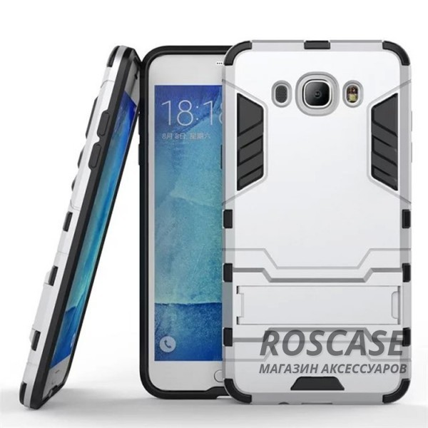 Ударопрочный чехол-подставка Transformer для Samsung J710F Galaxy J7 (2016) с мощной защитой корпуса (Серебряный / Satin Silver)Описание:подходит для Samsung J710F Galaxy J7 (2016);материалы: термополиуретан, поликарбонат;формат: накладка.&amp;nbsp;Особенности:функциональные вырезы;функция подставки;двойная степень защиты;защита от механических повреждений;не скользит в руках.<br><br>Тип: Чехол<br>Бренд: Epik<br>Материал: TPU