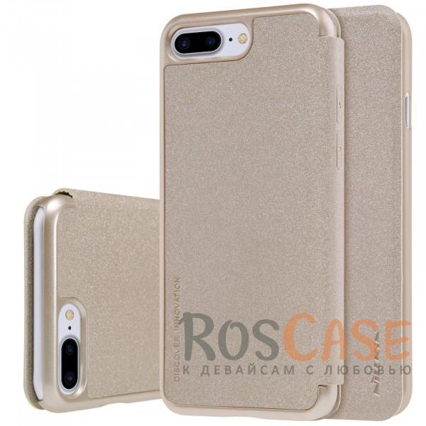 Кожаный чехол (книжка) Nillkin Sparkle Series для Apple iPhone 7 plus (5.5) (Золотой)Описание:производитель -&amp;nbsp;Nillkin;разработан для Apple iPhone 7 plus (5.5);материал - искусственная кожа, поликарбонат;тип - чехол-книжка.Особенности:блестящая поверхность;защита от царапин и ударов;тонкий дизайн;защита со всех сторон;не скользит в руках.<br><br>Тип: Чехол<br>Бренд: Nillkin<br>Материал: Искусственная кожа
