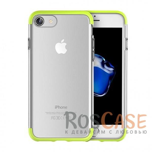 Гибкий прозрачный чехол из силикона с цветными защитными цветными вставками по краям для Apple iPhone 7 / 8 (4.7) (Зеленый)Описание:компания&amp;nbsp;Rock;материалы: термополиуретан, поликарбонат;совместимость: Apple iPhone 7 / 8 (4.7);тип: накладка.<br><br>Тип: Чехол<br>Бренд: ROCK<br>Материал: TPU