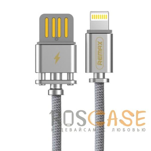 Фото Серебряный Remax Dominator RC-064i | Дата кабель с функцией быстрой зарядки в тканевой оплетке USB to Lightning (100см)