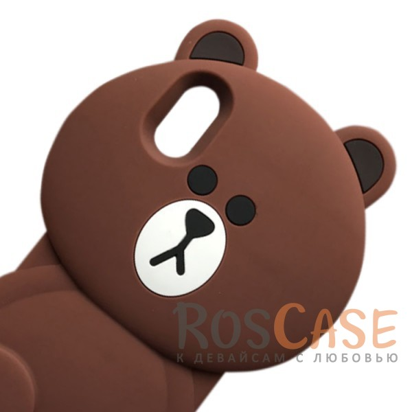 """Изображение Коричневый Большой силиконовый чехол-игрушка медведь Тедди для Apple iPhone X (5.8"""")"""