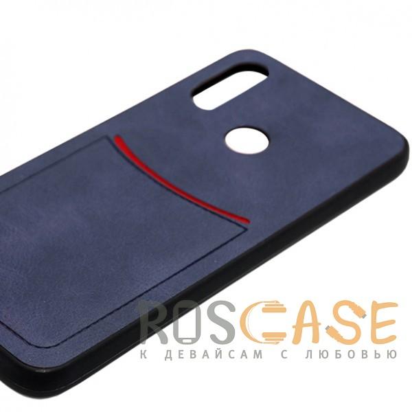 Фото Синий ILEVEL | Чехол с кожаным покрытием и с карманом-визитницей для Huawei P20 Lite