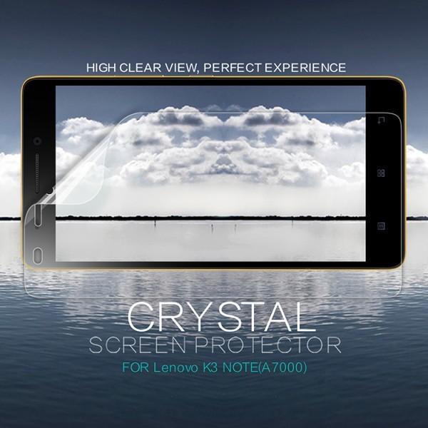 Защитная пленка Nillkin Crystal для Lenovo A7000/K3 Note/K50TОписание:бренд:&amp;nbsp;Nillkin;совместима с Lenovo A7000/K3 Note/K50T;материал: полимер;тип: защитная пленка.&amp;nbsp;Особенности:в наличии все необходимые функциональные вырезы;не влияет на чувствительность сенсора;глянцевая поверхность;свойство анти-отпечатки;не желтеет;легко очищается.<br><br>Тип: Защитная пленка<br>Бренд: Nillkin