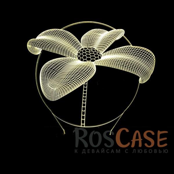 """Изображение Цветок Светодиодный 3D светильник-ночник с проекцией объемного изображения """"Цветок"""""""