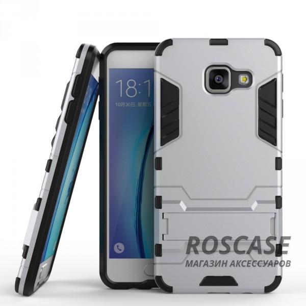 Ударопрочный чехол-подставка Transformer для Samsung A310F Galaxy A3 (2016) с мощной защитой корпуса (Серебряный / Satin Silver)Описание:совместим с Samsung A310F Galaxy A3 (2016);материал для изготовления - поликарбонат/термополиуретан;форм-фактор  -  накладка.Особенности:легкая фиксация и отсутствие скольжения;ударостойкость;морозоустойчивость;есть функция подставки.<br><br>Тип: Чехол<br>Бренд: Epik<br>Материал: TPU