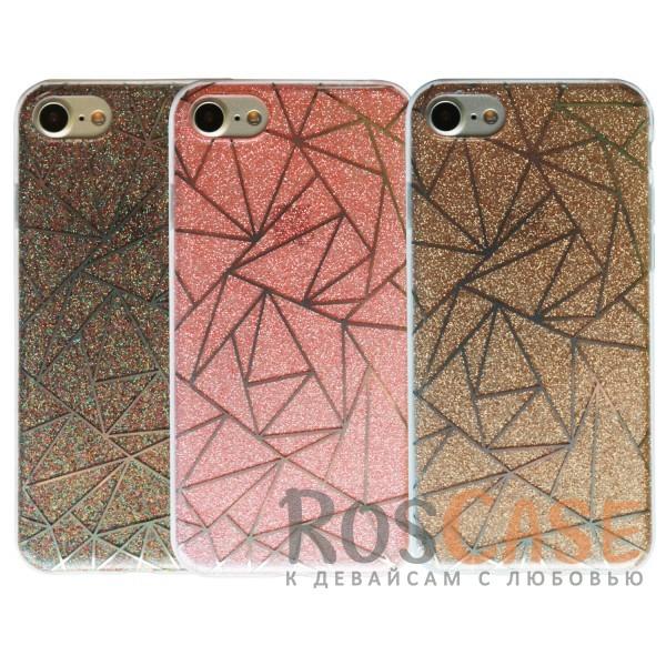 Цветная силиконовая накладка с блестящим геометрическим узором и прозрачными бортами для Apple iPhone 7 / 8 (4.7)Описание:совместим с Apple iPhone 7 / 8 (4.7);блестящие вкрапления;материал - TPU;тип - накладка.<br><br>Тип: Чехол<br>Бренд: Epik<br>Материал: TPU