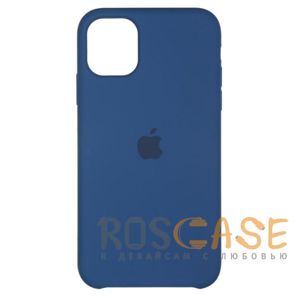 Фото Синий Силиконовый чехол Silicone Case с микрофиброй для iPhone 11 Pro