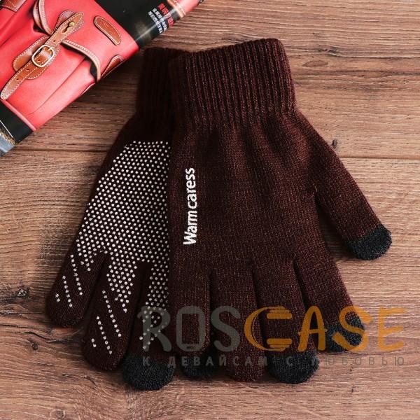 Фотография Коричневый Warm caress | Емкостные перчатки утепленные (нескользящие)