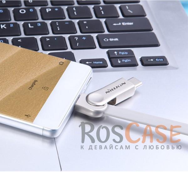 Изображение Белый Nillkin Plus 3   Плоский кабель с разъемами MicroUSB и Type-C