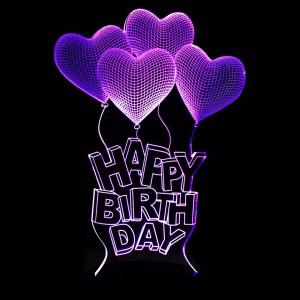 """Светодиодный 3D светильник-ночник с проекцией объемного изображения """"Шарики Happy Birthday"""" для Подарки для девушки"""