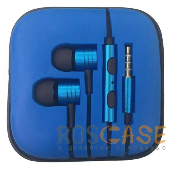 Фото Синий JX | Металлические наушники с плетеным проводом и пультом