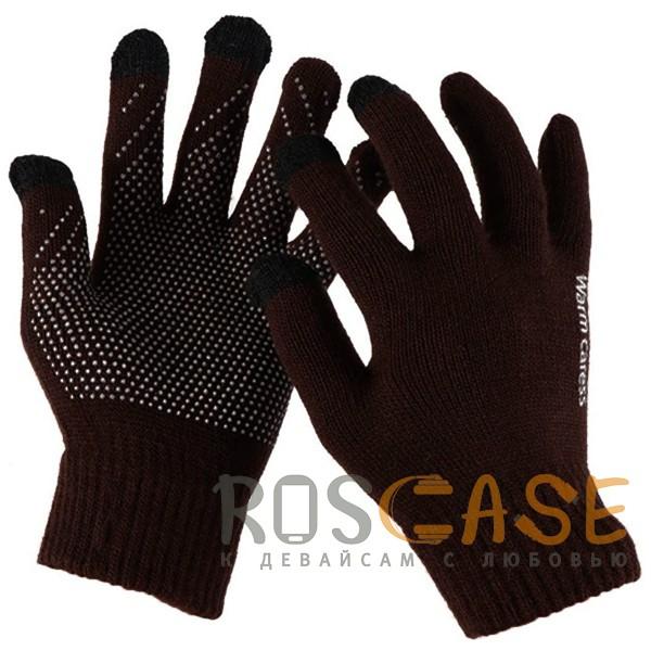 Фото Коричневый Warm caress | Емкостные перчатки утепленные (нескользящие)