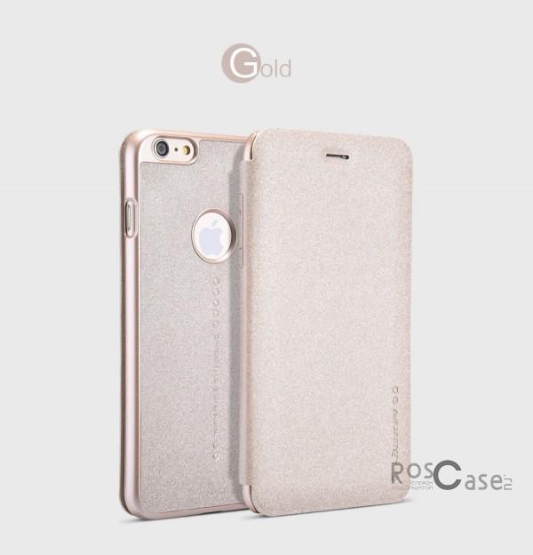 Защитный чехол-книжка для Apple iPhone 6 plus (5.5)  / 6s plus (5.5)  (Золотой)Описание:изготовлен из синтетической кожи и поликарбоната;фактурная поверхность;тип конструкции: чехол-книжка;совместим с Apple iPhone 6 plus (5.5) / 6s plus (5.5).&amp;nbsp;Особенности:внутренняя отделка из микрофибры;ультратонкий;не скользит в руках;яркая, насыщенная палитра цветов.<br><br>Тип: Чехол<br>Бренд: Nillkin<br>Материал: Искусственная кожа