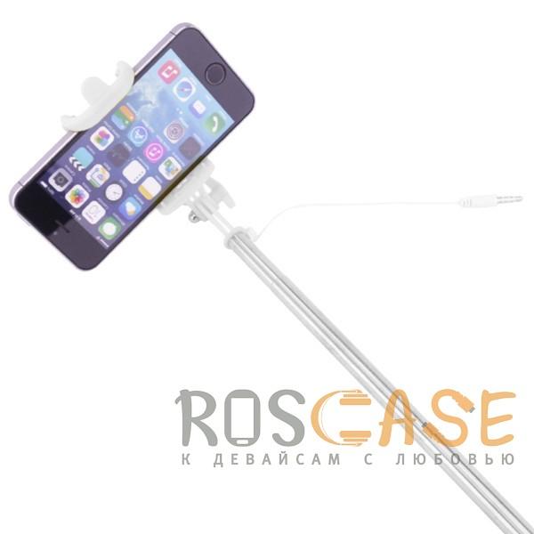 Изображение Розовый S014   Телескопический монопод для селфи с лого и прорезиненной ручкой (кабель 3,5 mini jack)