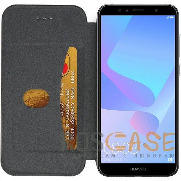 Open Color 2 | Чехол-книжка на магните для Huawei Y6 (2018) с подставкой и внутренним карманом (Черный), , Чехлы