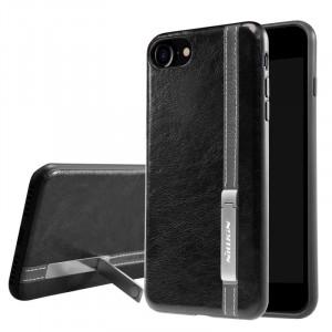 """Черная классическая кожаная накладка с металлической подставкой для Apple iPhone 7 / 8 (4.7"""") (Уценка)"""