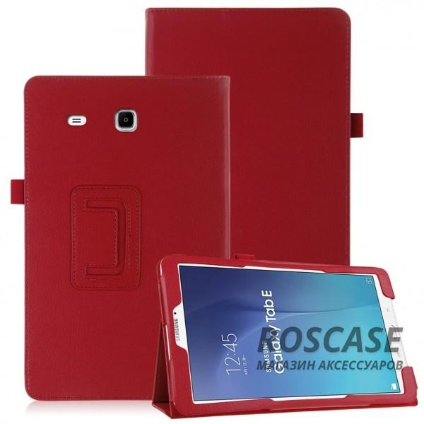 Кожаный чехол-книжка TTX с функцией подставки для Samsung Galaxy Tab E 9.6 (Красный)Описание:производитель  - &amp;nbsp;TTX;совместимость  -  Samsung Galaxy Tab E 9.6;материалы  - кожзам и микрофибра;форма  -  чехол-книжка.&amp;nbsp;Особенности:может превращаться в подставку;надежно удерживает планшет;защищает от царапин, потертостей, трещин;на нем не остаются отпечатки пальцев;вырезы для: динамиков, наушников, зарядного устройства, камеры, кнопок.<br><br>Тип: Чехол<br>Бренд: TTX<br>Материал: Искусственная кожа