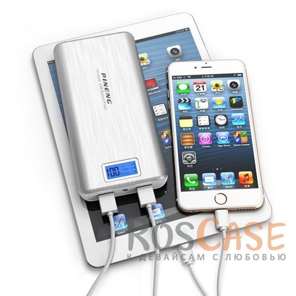 Фотография Серебряный Портативное зарядное устройство в противоударном корпусе с ЖК дисплеем и фонариком 20000mAh (2 USB)